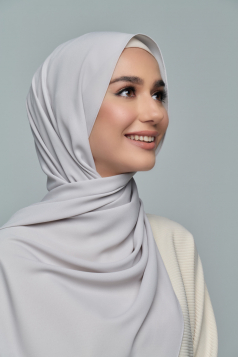LAYLA Chiffon Shawl in Powder Grey