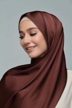Thalia Satin Shawl in Mahogany
