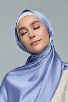 THALIA Satin Shawl in French Blue