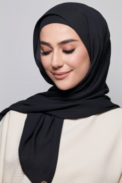 LAYLA Chiffon Shawl in Black Aswad