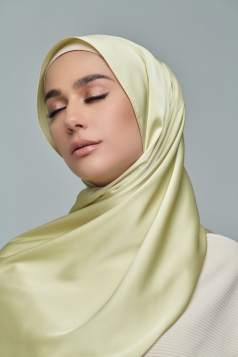 Thalia Satin Shawl in Honey Dew