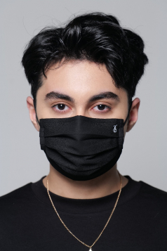 TAHA Chiffon Mask in Black Aswad