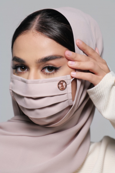 LAYLA Chiffon Earloop Mask in Rose Latte