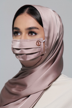 Thalia Satin Earloop Mask in Dusty Grey