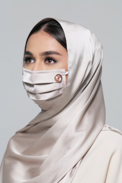 Thalia Satin Earloop Mask in Eggshell