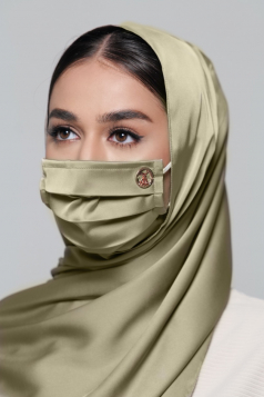 Thalia Satin Earloop Mask in Olive