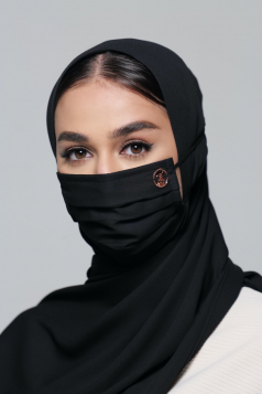LAYLA Chiffon Headloop Mask in Black Aswad