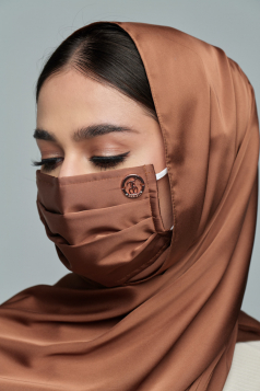 Thalia Satin Headloop Mask in Almond Brown
