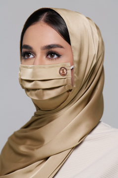 Thalia Satin Earloop Mask in Caramel