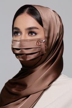 Thalia Satin Earloop Mask in Almond Brown