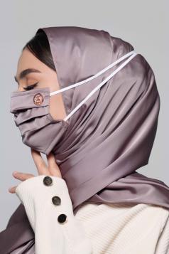 Thalia Satin Headloop Mask in Amethyst Grey