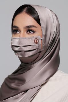 Thalia Satin Earloop Mask in Amethyst Grey