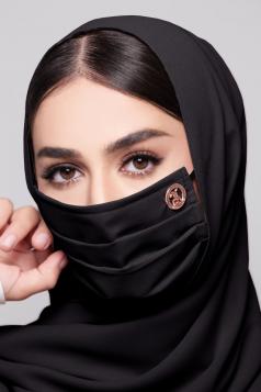 LAYLA Chiffon Earloop Mask in Black Aswad