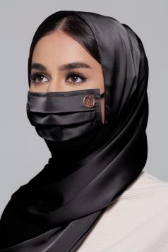 Thalia Satin Earloop Mask in Black Aswad