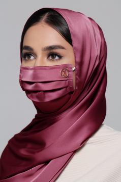 Thalia Satin Earloop Mask in Burgundy Rose