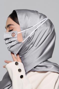 Thalia Satin Headloop Mask in Diamond