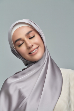 THALIA Satin Shawl in Storm