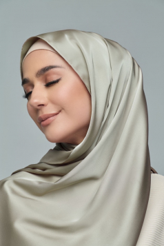 THALIA Satin Shawl in Olive