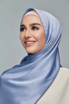 THALIA Satin Shawl in French Blue