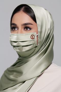 Thalia Satin Earloop Mask in Ice Mint