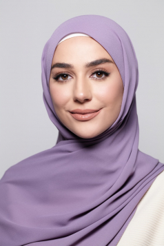 LAYLA Chiffon Shawl in Dusty Purple
