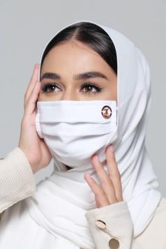 LAYLA Chiffon Earloop Mask in Daisy White
