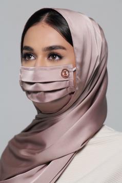 Thalia Satin Earloop Mask in Dusty Grey