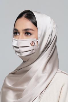Thalia Satin Earloop Mask in Eggshell