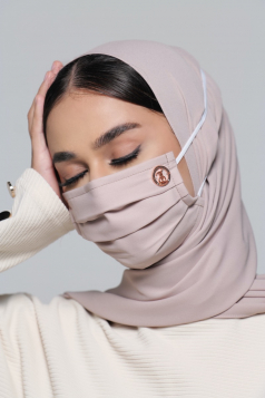 LAYLA Chiffon Headloop Mask in Rose Latte