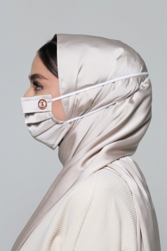 Thalia Satin Headloop Mask in Eggshell