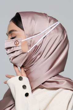 Thalia Satin Headloop Mask in Dusty Grey