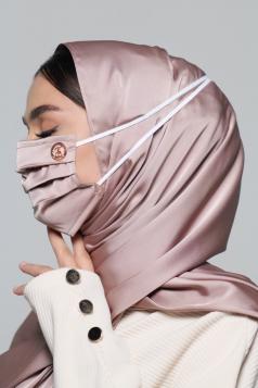 Thalia Satin Headloop Mask in Dusty Grey