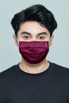 TAHA Satin Mask in Burgundy Rose