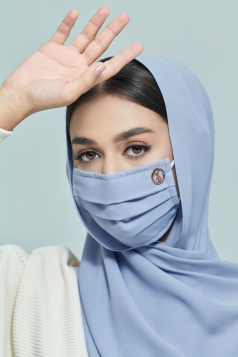 LAYLA Chiffon Earloop Mask in Heather Blue