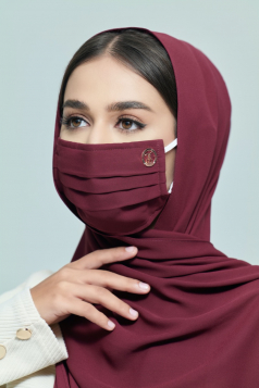 LAYLA Chiffon Earloop Mask in Cranberry