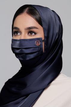 Thalia Satin Earloop Mask in Midnight Blue