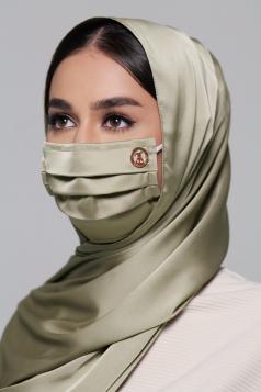 Thalia Satin Earloop Mask in Olive