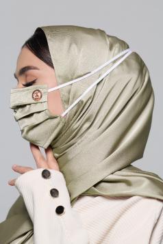 Thalia Satin Headloop Mask in Olive