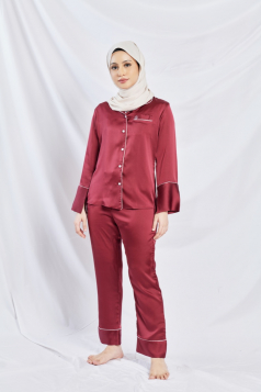 Satin Silk Pyjama in Wine Red