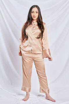 Satin Silk Pyjama in Gold Rush