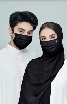 TAHA Chiffon Mask in Black Aswad
